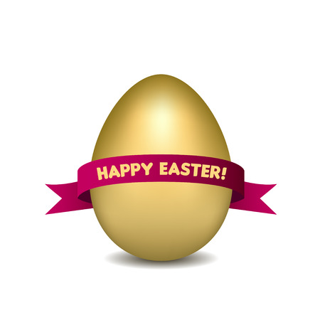 Easter golden egg with red ribbon isolated on white background Vector