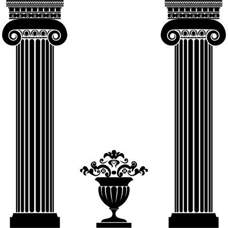 Classical greek or roman columns and vase Illustration