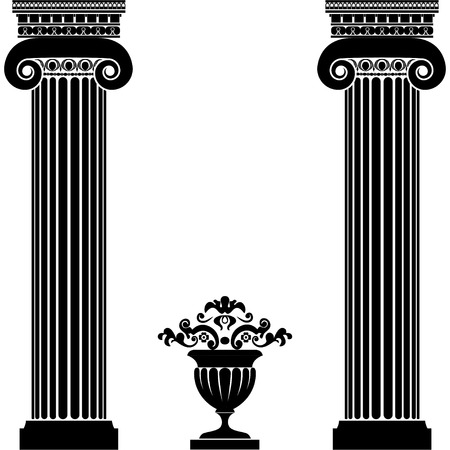 Classical greek or roman columns and vase Vectores