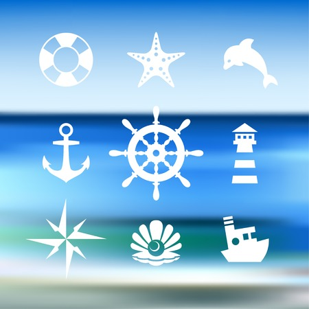 pearl harbor: Sea icon collection isolated on a blue water background Illustration