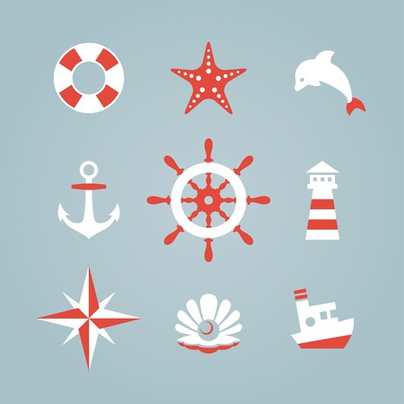 pearl harbor: Sea icon collection isolated on a blue background