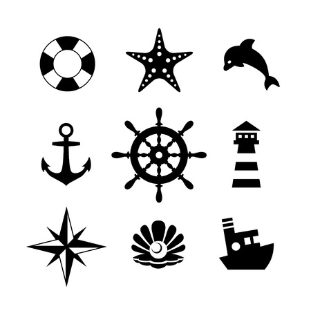 pearl harbor: Sea icon collection isolated on white background