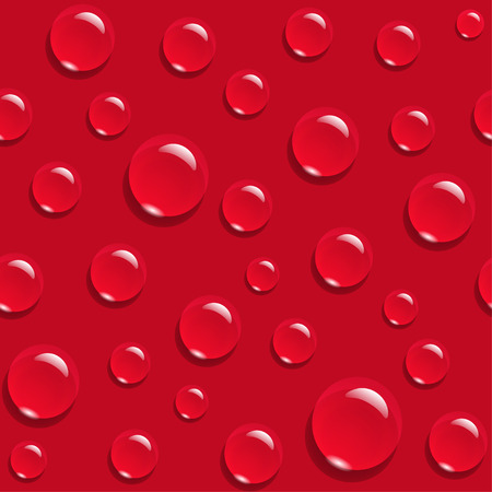 Water drops on red background seamless pattern Illustration