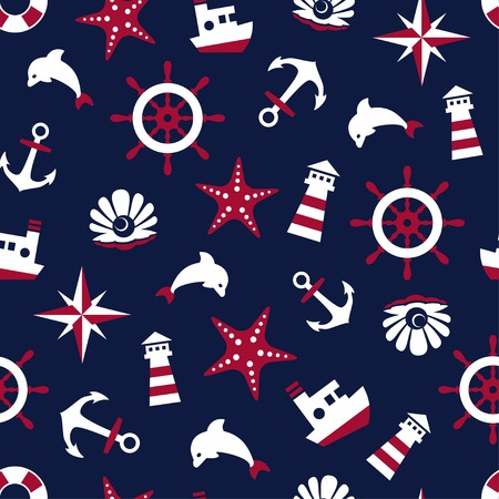 pearl harbor: Sea signs on a blue background seamless pattern