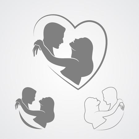 Dancing couple silhouette isolé sur fond blanc Banque d'images - 40323436