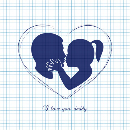 Little girl kissing her dad on Fathers Day Illustration