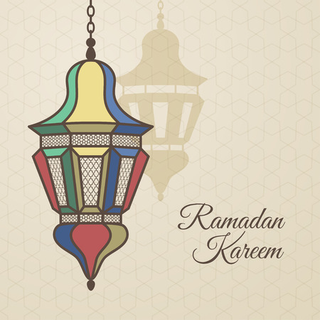 Ramadan Kareem card with oriental lamp on old paper background. Vector illustration