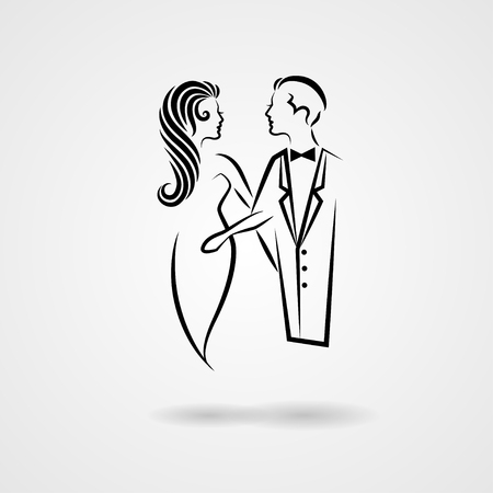 old fashioned: Lady and gentleman hand drawn silhouettes isolated on white background. Vector illustration
