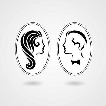 白い背景に分離されたエレガントな女性および紳士のシンボルです。ベクトル図
