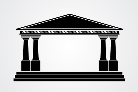 parthenon: Greek parthenon silhouette isolated on white background. Vector illustration