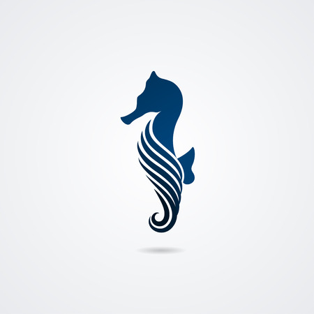 Seahorse isolated on white background. Vector illustration