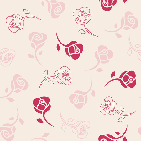 seamless pattern: Red and pink roses on beige background. Vector seamless pattern