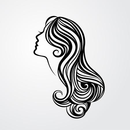 cabello: Señora con un retrato de pelo largo aislado en el fondo blanco. Ilustración vectorial