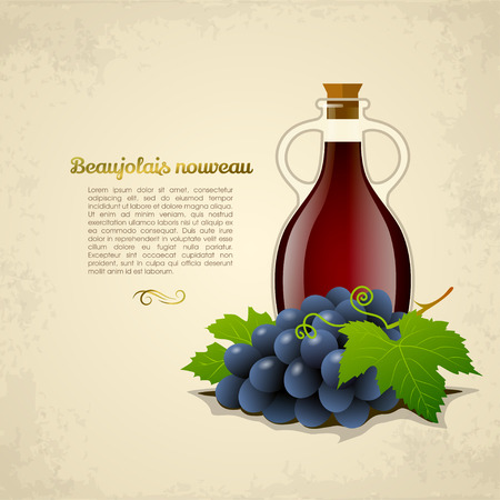 bottle wine: Wine bottle with a racemation of grapes isolated on old paper background. Vector illustration Illustration