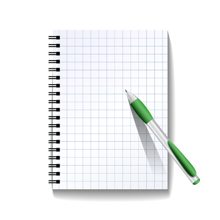 notebook page: Notebook with a pen isolated on white background. Vector illustration