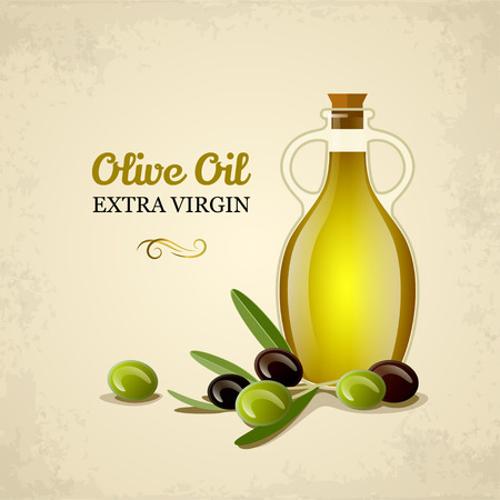 Botella de aceite con aceitunas verdes y negras. Vectores