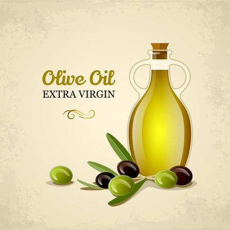 aceite de oliva: Botella de aceite con aceitunas verdes y negras. Vectores