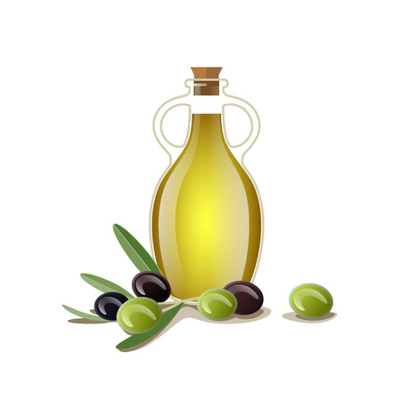 Bottle of oil with green and black olives. Vector illustration isolated on white background