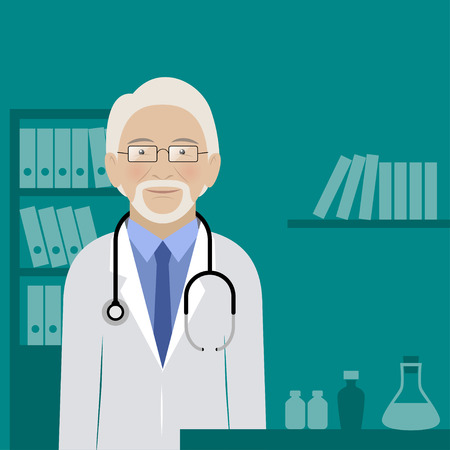 medicate: Doctor in his office. Illustration