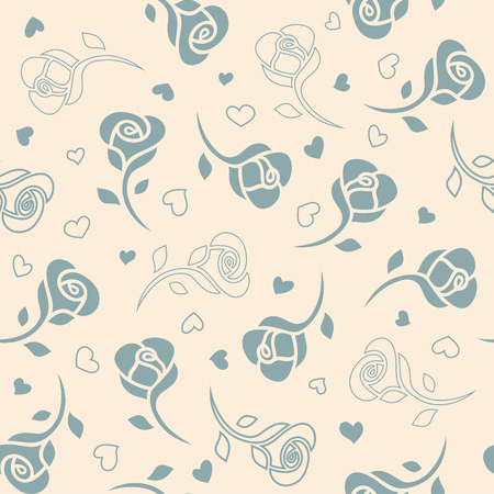 Blue roses on a beige background. Vector seamless pattern