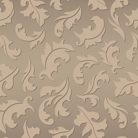 rococo: Floral seamless brown pattern. Vector illustration for invitation, card decoration