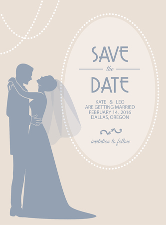Wedding invitation card with groom and bride. Vector illustration Ilustração