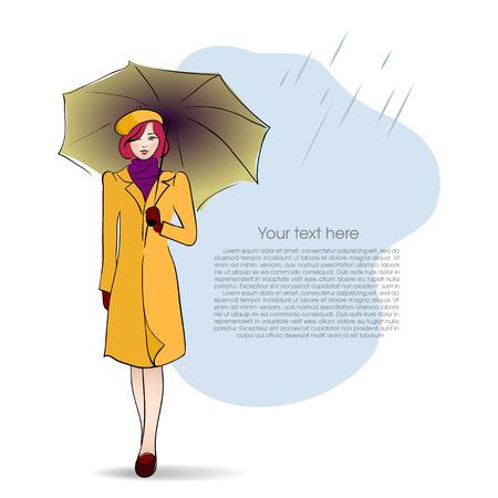 stylish woman: Lady with umbrella on autumn background. Vector illustration