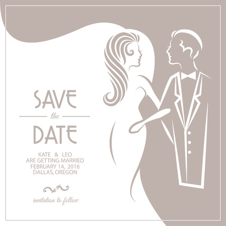 Wedding invitation card with groom and bride. Vector illustration Stock Illustratie