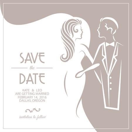 Hochzeitseinladungskarte mit Braut und Bräutigam. Vektor-Illustration