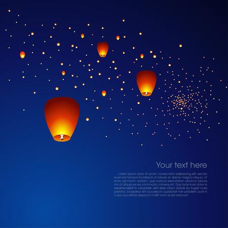 faroles: Linternas chinas que flotan en un oscuro cielo nocturno. Ilustración vectorial
