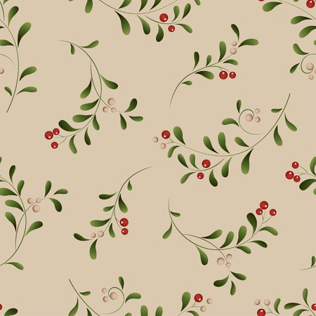 red berries: Green sprig with red berries seamless Christmas background. Vector illustration Illustration