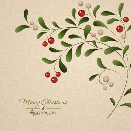 Green sprig with red berries isolated on vintage background. Vector illustration