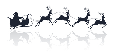 cartoon present: Santa Claus silhouette riding a sleigh with deers. Vector illustration