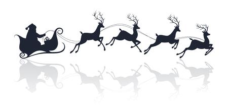 papa noel en trineo: Santa Claus silueta andar en trineo con ciervos. Ilustración vectorial