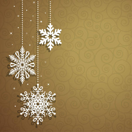 Christmas background with hanging snowflakes. Vector card Illustration