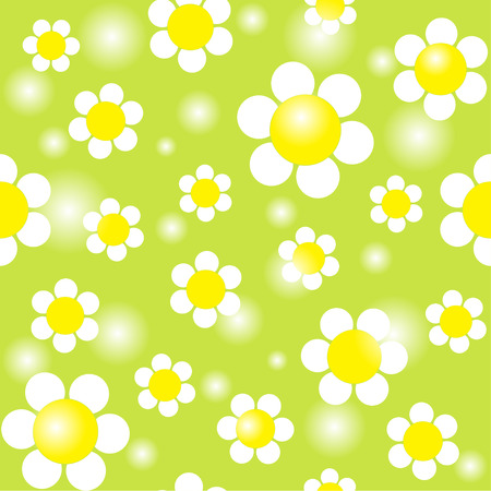 chamomiles: White chamomiles on a green background seamless pattern. Vector illustration