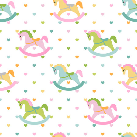 Rocking horses and hearts children seamless pattern. Vector illustration Иллюстрация