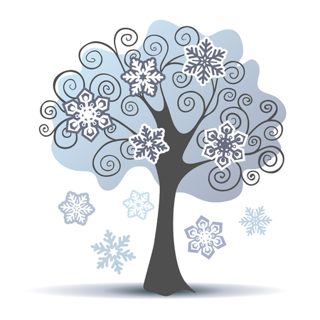 curly: Stylized vector winter tree with some snowflakes. Vector illustration