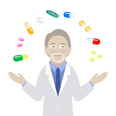 Pharmacologist with different kind of pills isolated on white background. Vector illustration