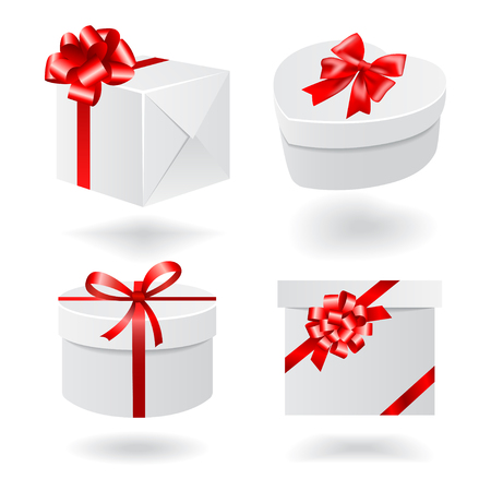 white boxes: Gift boxes with red ribbons isolated on white background. Vector set