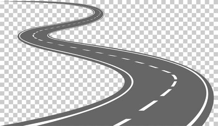 交通: 白い斑紋のある湾曲した道路。ベクトル図