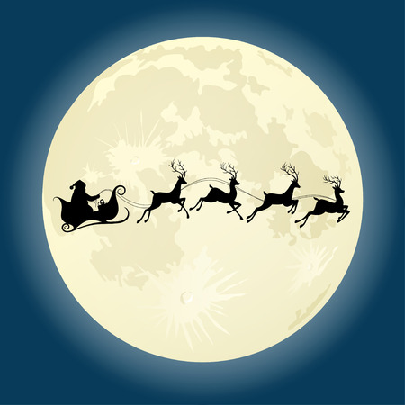 claus: Santa Claus silhouette riding a sleigh with deers in front of moon. Vector illustration