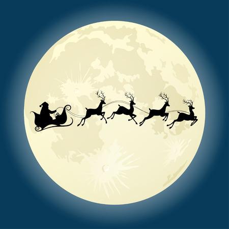 trineo: Santa Claus silueta andar en trineo con ciervos delante de la luna. Ilustración vectorial