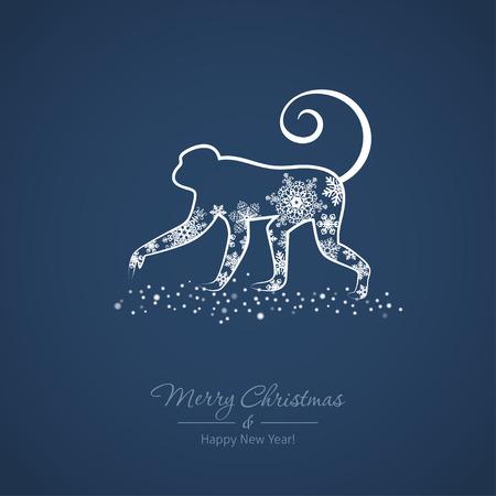 Nouvelle carte de l'année avec un signe d'horoscope chinois - singe. Vector illustration Banque d'images - 48712749