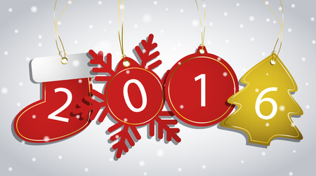 red label: New Year tags on a snowy background. Vector illustration