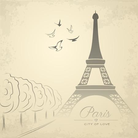 correspondence: Tarjeta de la vendimia con la Torre Eiffel. ilustración vectorial Vectores