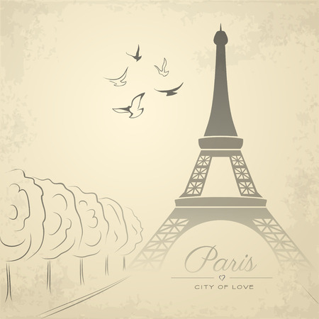 french: Vintage card with Eiffel Tower. Vector illustration