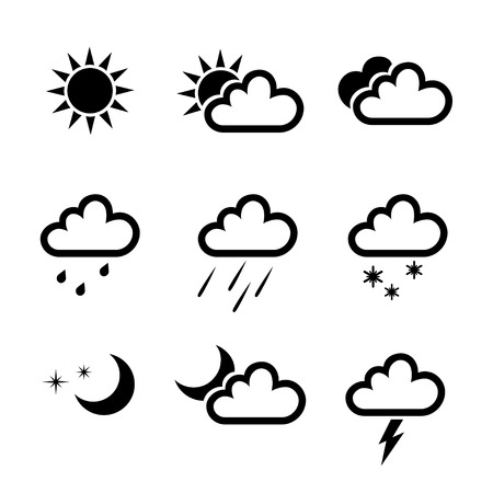 the weather: colección de iconos del tiempo aislados en fondo blanco. ilustración vectorial