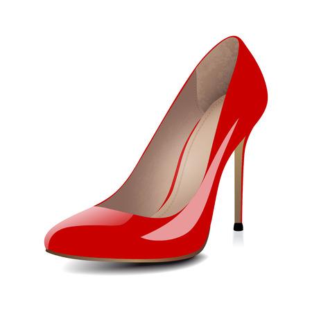 tacones: Los tacones altos zapatos rojos aislados sobre fondo blanco. ilustraci�n vectorial