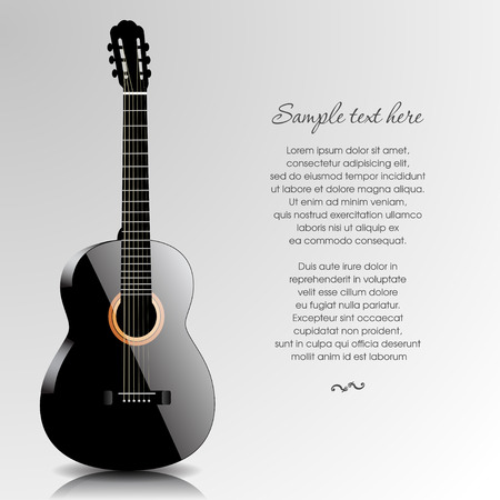 lyrics: Abstract music background with black guitar. Vector illustration